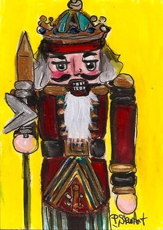 ACEO Nutcracker Painting 203 King with Spear Acrylic Red SFA OOAK Penny StewArt #IllustrationArt www.pennyleestewart.com, www.pennystewart.net, www.craftylady.com