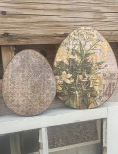 Shabby Chic Wood Easter eggs by Cards4Charlie on Etsy