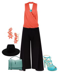 """coral turquoise black"" by kim-coffey-harlow ❤ liked on Polyvore featuring Victoria, Victoria Beckham, New Look, rag & bone, Jil Sander, GUESS, Jennifer Meyer Jewelry and Kate Spade"