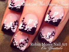Black and White Diagonal Daisy Nails! #nails #nailart #nail #art #design #tutorial #naildesign #diynails #youtube #robinmoses #robinmosesnailart #blackandwhite #daisynails #daisies #flowernails #frenchmani #cutenailart #blackchevron #whitechevron