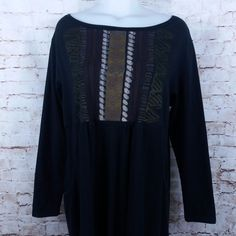 Blue Fish Fall Thermal Knit Dress Size 1 Organic Cotton Black Asymmetric Hem #BlueFish #AsymmetricalHem #Casual