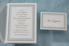 This bright white card is surrounded by sky pinstripes with delicate touches of mocha in between. This invitation has an optional matching pinstripe liner available.