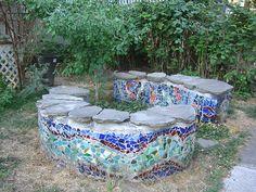 Mosaic Diy, Mosaic Garden, Mosaic Crafts, Mosaic Projects, Mosaic Wall, Mosaic Tiles, Garden Crafts, Garden Art, Mosaic Walkway