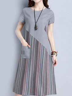 Striped Patchwork O Neck Short Sleeve Pocket Women Dresses