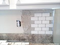 How to Install a Kitchen Backsplash – The Best and Easiest Tutorial Subway tile backsplash DIY tutorial. Use Grout Boost or other additive – which includes sealer – instead of water to mix the grout. Kitchen Redo, Kitchen Design, Kitchen Ideas, Kitchen Cabinets, Kitchen Inspiration, Kitchen Countertops, Backsplash Ideas For Kitchen, Kitchen Storage, Reface Cabinets