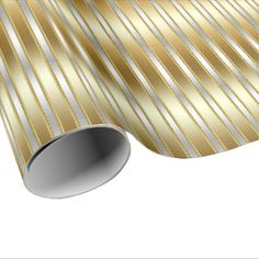 Elegant Exquisite Silver on Gold Stripes Wrapping Paper - anniversary gifts ideas diy celebration cyo unique