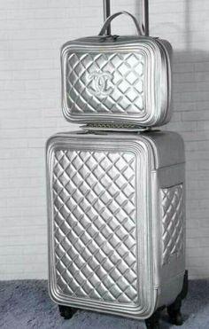 Chanel Silver Luggage - Another! Chanel Handbags, Luxury Handbags, Purses And Handbags, Valentino Handbags, Chanel Bags, Coco Chanel, Chanel Luggage, Luxury Luggage, Designer Travel Bags