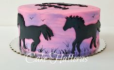 Sunset with horses - cake by Donna Tokazowski- Cake Hatteras, Hatteras N. Fondant Horse, Horse Cake, Horse Birthday Parties, Birthday Cake Girls, Horse Birthday Cakes, 8th Birthday, Fondant Cakes, Cupcake Cakes, Cupcakes