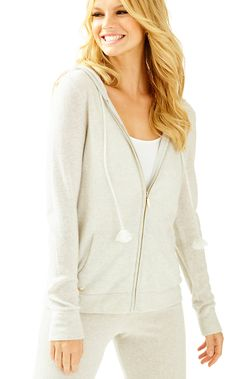 LILLY PULITZER LINZEY CASHMERE ZIP UP HOODIE. #lillypulitzer #cloth #