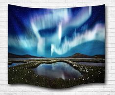 Aurora Above Lake Magic Moments Picture Print Fabric Wall Hanging Tapestry