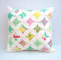 20% Off Pillow Cover Turquoise Lime Green Pink Cathedral Window Pillow 18 Inch