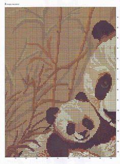 Mamma panda con il suo cucciolo schema punto croce gratis (1)