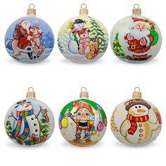 "3.25"" Set of 6 Snowman, Santa, Nutcracker Glass Ball Christmas Ornaments"
