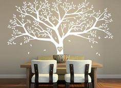 Tree Wall Decal Family Tree Wall Sticker with monogram - T46 via Etsy