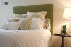 """Upholstered Headboard - Foam left 2"""" shorter than wood on top and sides for nail head trim."""