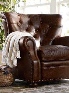 Glendale Pulley Task Floor Lamp at Pottery Barn Fowler (+ the gorgeous chair) Leather Furniture, Wicker Furniture, New Furniture, Living Room Furniture, Outdoor Furniture, Leather Recliner, Leather Sofa, Leather Chairs, Pink Leather