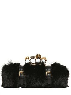 Alexander Mcqueen Knuckle Box Fur Clutch on bagservant.co.uk, #clutch