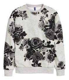 Graphic floral print sweatshirt in a soft grey melange cotton. | H&M For Men - blouses, choli, sleeveless, white, victorian, crochet blouse *ad