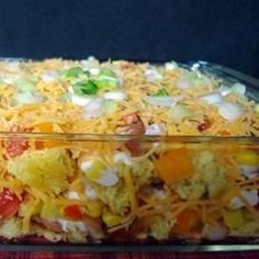 Mexican Cornbread Salad – this is amazing and such a fun twist on normal salads Loading. Mexican Cornbread Salad – this is amazing and such a fun twist on normal salads Mexican Cornbread Salad, Cornbread Salad Recipes, Mexican Dishes, Mexican Food Recipes, Mexican Desserts, Quesadillas, Enchiladas, Empanadas, Great Recipes