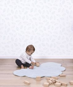 Papier peint enfant feuilles bleues
