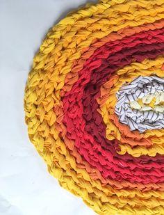 "Sun Burst Yellow Oval Rag Rug made from recycled t shirt fabric, 25""X19"". Bath Mat / Kitchen Mat / Dorm Room Decor / Kids Room / cheerful by SpoonfullofThread on Etsy https://www.etsy.com/listing/507979663/sun-burst-yellow-oval-rag-rug-made-from"