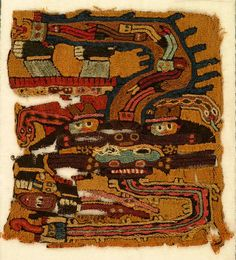 """Standing human figure wearing an elaborate mask and headdress with serpents. Figure holds a trophy head in one hand and a staff in the other. Brightly colored embroidery covers the entire surface.    This fragment is medium: wool technique: stem stitch on plain weave.    This fragment is from Peru and dated """"300–100 BC""""."""