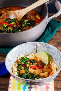 "Red Curry Eggplant and Kale Over Cauliflower ""Rice"" 