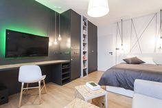 Izba pre mladého muža Flat Screen, Divider, Interior Design, Room, Inspiration, Furniture, Home Decor, Blood Plasma, Nest Design