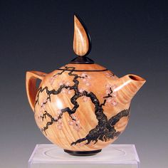 Stephen Hatcher - Teapot in big leaf maple and ebony with inlay.