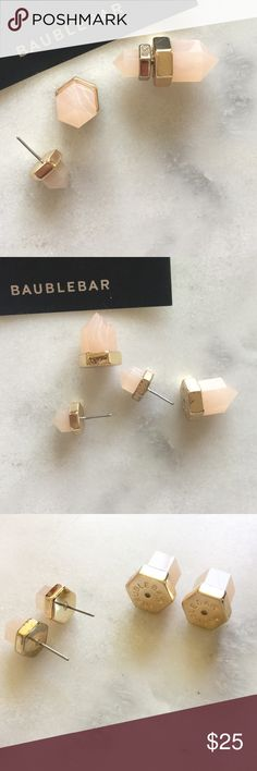 "BaubleBar Rose Quartz Double Earrings • BaubleBar Excelsior 360 rose Quartz Studs • new & unworn • slight markings to one of the backs of earrings and front of metal part (see pictures) reflected in price.  •Measurements Back: length: 0.75"", width: 0.5"";  •Front: length: 0.45"", width: 0.4"", weight: 0.2 oz.  •substantial weight BaubleBar Jewelry Earrings"