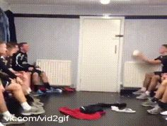 """Soccer heading teamwork in the locker room."" Haha I love how excited the first guy gets"