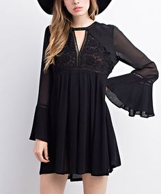Another great find on #zulily! Black Sheer Lace Bell-Sleeve Dress #zulilyfinds