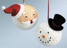 Golf Ball Crafts Santa has dimples! :D Do you recognize the main material used to create these cheerful ornaments? Recycle your old golf balls into handmade ornaments. These DIY ornaments also make great Christmas gifts for golfers. Snowman Crafts, Snowman Ornaments, Diy Christmas Ornaments, Christmas Projects, Holiday Crafts, Holiday Fun, Christmas Decorations, Ball Ornaments, Snowmen