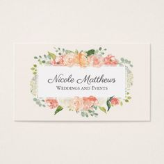 #Peach and Pink Watercolor Floral Business Card - #office #gifts #giftideas #business