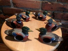 Hand Carved Vintage Wooden Duck Napkin Rings, Hand painted duck napkin holders, napkin holders, duck tableware by Morethebuckles on Etsy