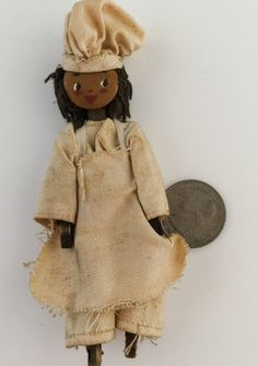Antique Maybe Vintage Black Americana Hand Made Stick Chef Doll - 1900s by thriftnstyle. Explore more products on http://thriftnstyle.etsy.com
