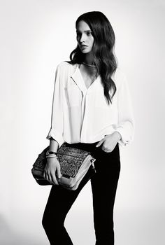 Sumptuously stylish with this staple blouse and black trouser. Perfect Parings, as seen in Vogue.