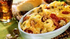 Rezept: Tortellini-Schinken-Gratin mit Pilzen