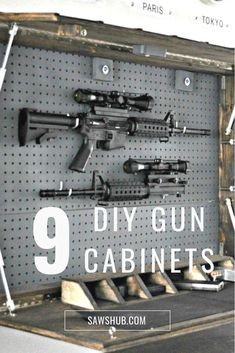 9 DIY Gun Safe Designs to Securely Store Your Firearms Instead of dropping a lot of money to store you guns, we've found our favorite 9 DIY gun safe projects that you can build at home. Gun Safe Diy, Hidden Gun Safe, Hidden Gun Storage, Diy Ammo Storage, Airsoft Storage, Hidden Gun Rooms, Weapon Storage, Secret Storage, Craft Storage