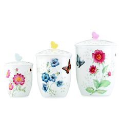 Add a touch of springtime to your kitchen with these Butterfly Meadow canisters.