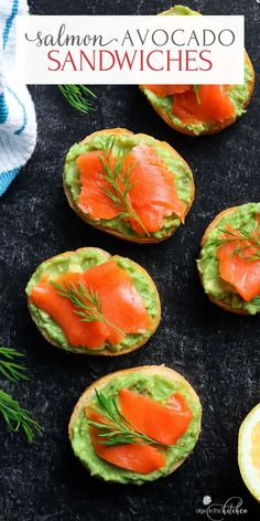 These Salmon Avocado Sandwiches (Canapes) are super easy, healthy and the perfect appetizer to serve at your next party. #appetizer #breakfast #olgainthekitchen #salmon #avocado #canapes #healthy #easyrecipe