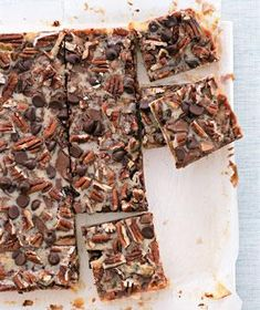 Turtle Bars|Customize these layer bars with your own favorite toppings: swap walnuts for pecans or butterscotch chips for the chocolate.