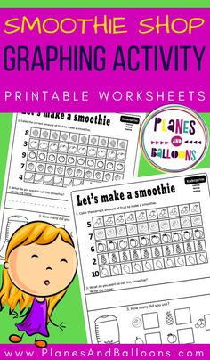Smoothie shop graphing worksheets PDF for kindergarten - free printable Graphing Worksheets, Graphing Activities, Kindergarten Math Activities, Counting Activities, Printable Worksheets, Maths, Free Printables, Learning Numbers Preschool, Smoothie Shop