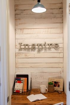 Closet Office with shiplap and barn lighting...so cute!