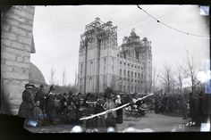Cracked and taped glass negative of the capstone ceremony of the Salt Lake Temple, 6 April before restoration of the image. Salt Lake Temple, Salt Lake City Utah, Mormon Temples, Lds Temples, Church News, Lds Church, Journey To Bethlehem, Temple Square, Church History