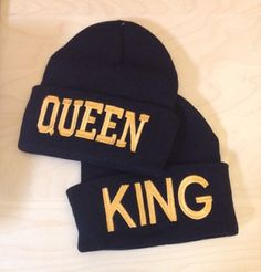 Queen & King Beanies for Couples with Custom by TheCoutumeShop, $30.00