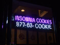 'Insomnia cookies' neon via Flickr --- I sure could use some of those lately...