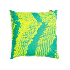 """Like these graphic prints that look like something ran over them.  Prolly fun to make. Kuma Cover """"Feather"""" pillow hand silk-screened print on canvas by Ross Menuez for Areaware."""