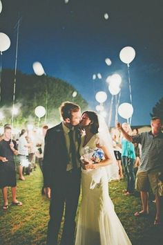 White LED Balloons Send Off / http://www.deerpearlflowers.com/wedding-exit-send-off-ideas/