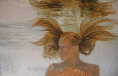 Water Portrait  ~ Invincible by Deborah Chapin, 24x36 oil on linen canvas.  Part of the Book of Water Project.  Removed Horizon line and enhanced accents.